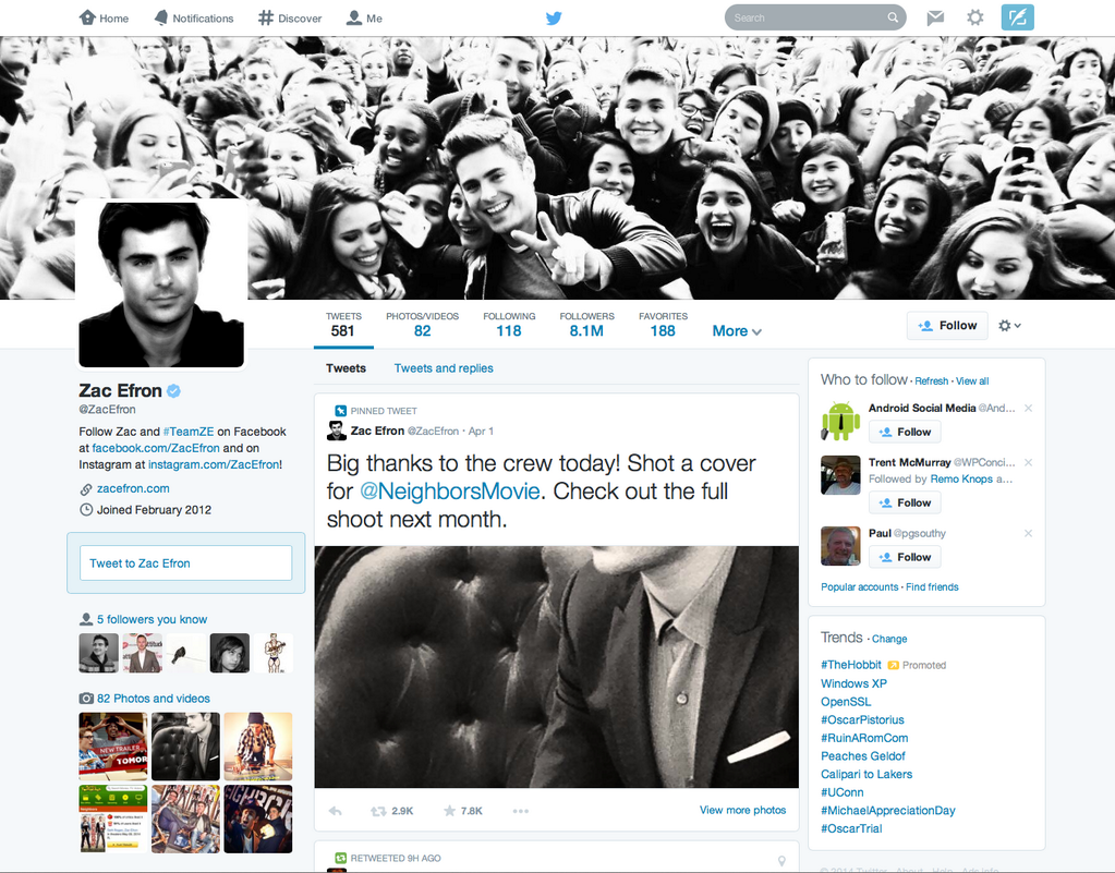 New Twitter profile (Zac Efron, web screenshot 001)