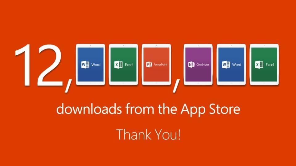 Office for iPad (12M downloads)