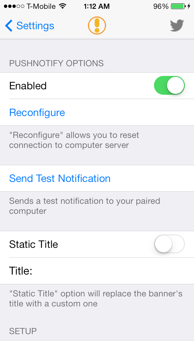 Push Notify Settings