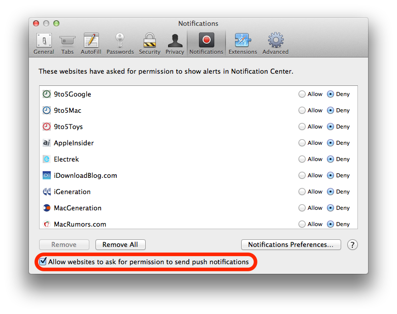 Safari 7.0.3 for OS X (Push notifications switch)