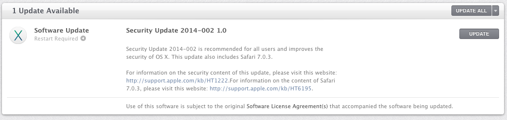 Security Update 2014-002 1.0 prompt