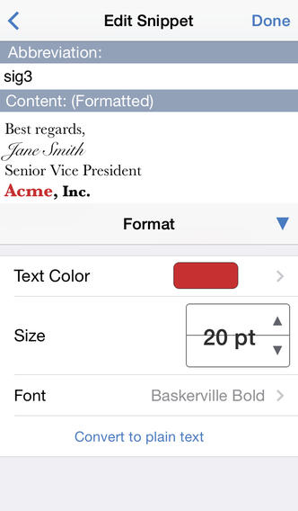 TextExpander 2.5 for iOS (iPhone screenshot 002)