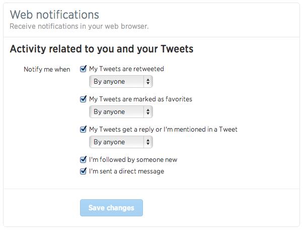 Twitter (web notifications, settings)
