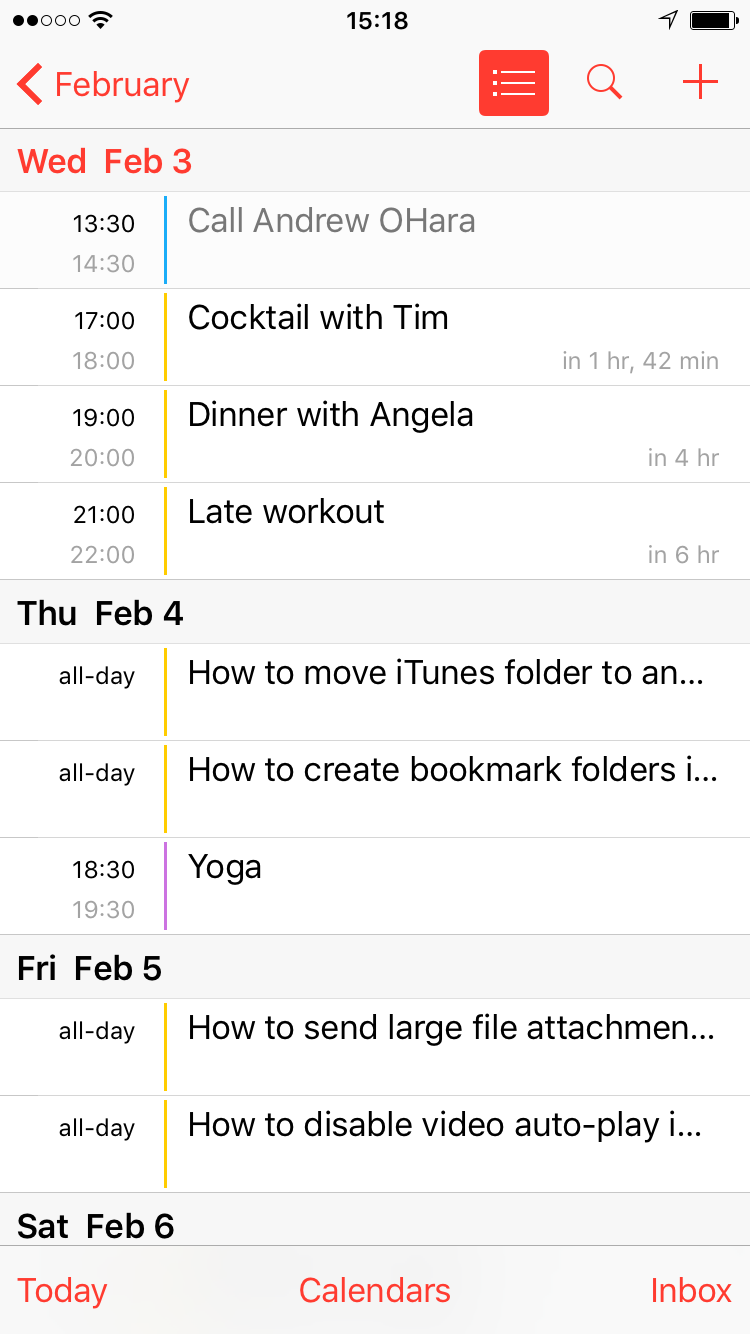 calendar list view on ios