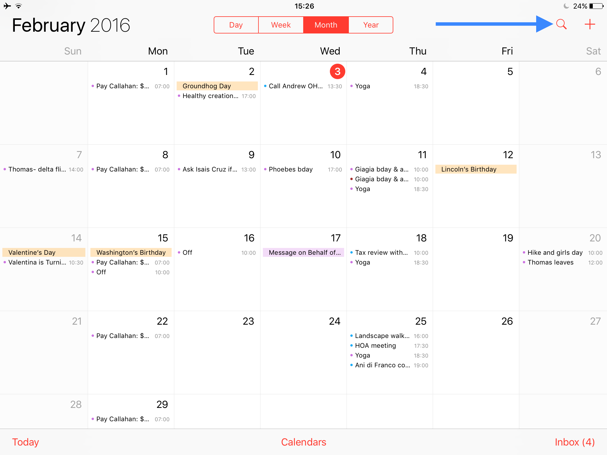 how to see list view calendar on ipad