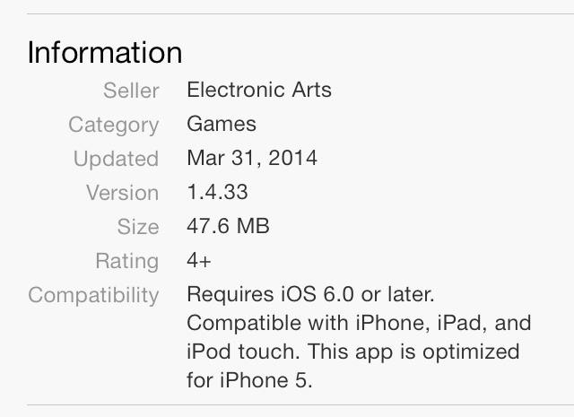 iOS 7 App Store Information