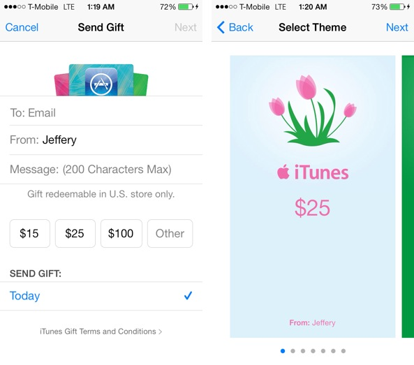 iOS 7 App Store Send Gift