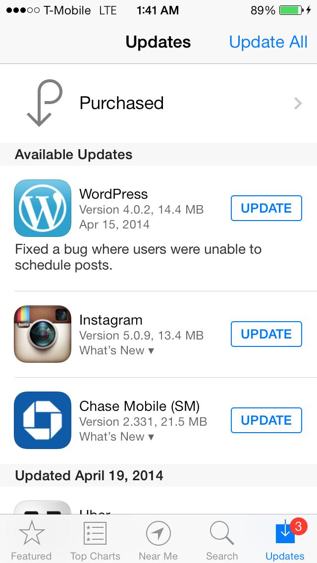 iOS 7 App Store Updates