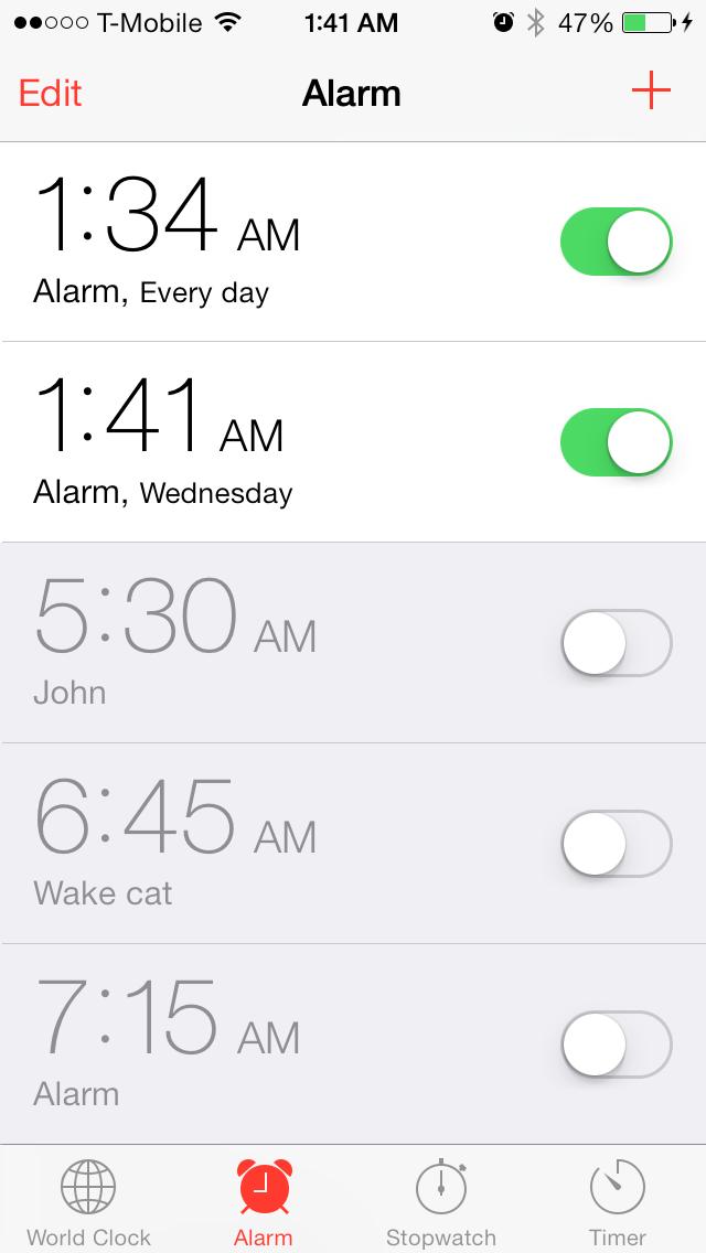 iOS 7 Clock app Alarm interface