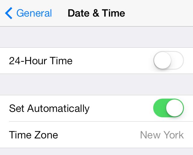iOS 7 Clock app Settings