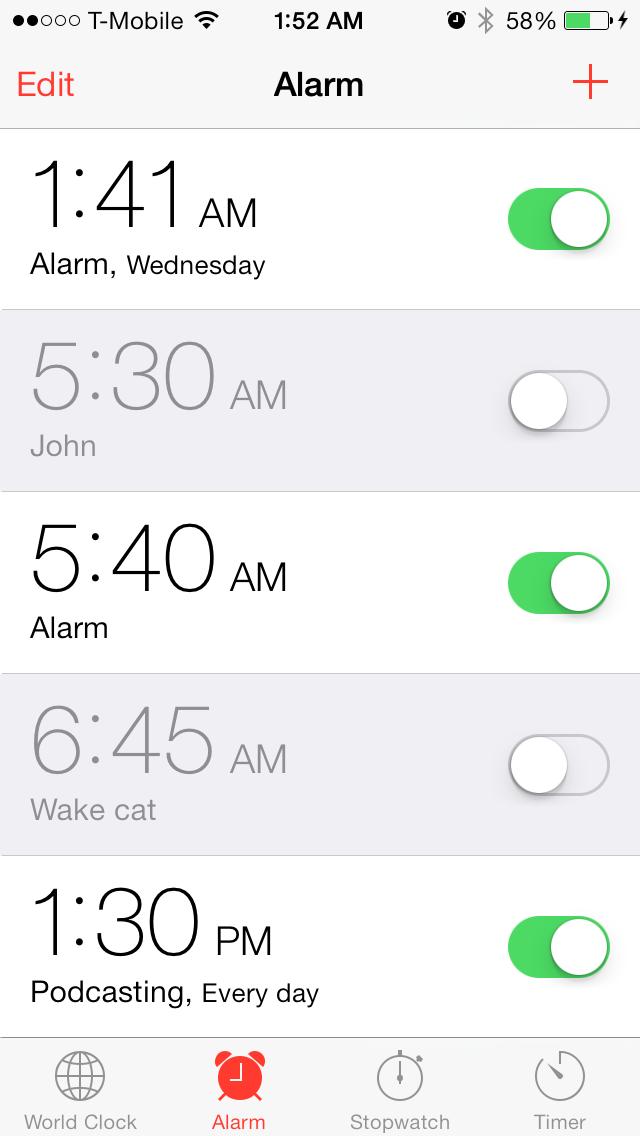 iOS 7 clock alarm time sort