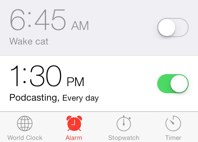 iOS 7 clock app alarm labels