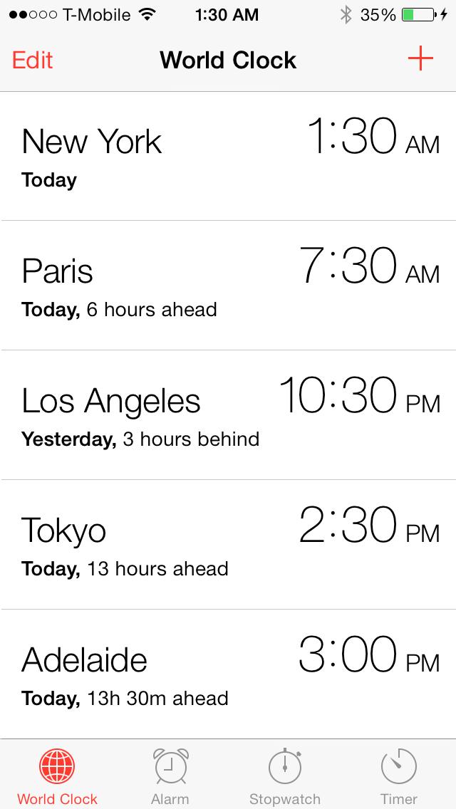 iOS 7 clock app world clock