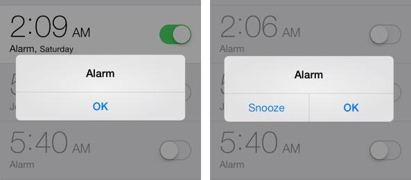 iOS 7 clock snoozed pop-up