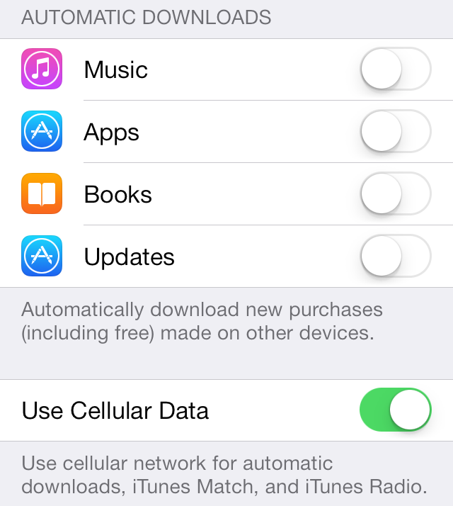 iOS 7 iTunes Store Automatic downloads settings