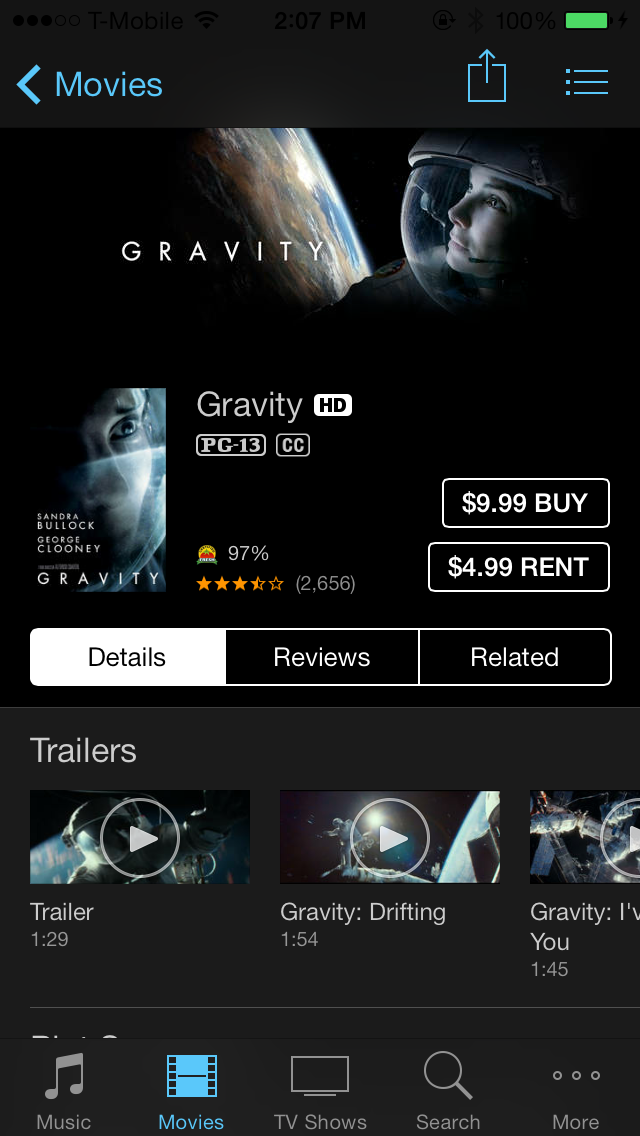 iOS 7 iTunes Store Movie Rent Buy