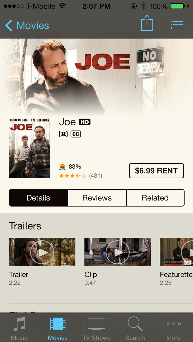 iOS 7 iTunes Store Movies Rent Only
