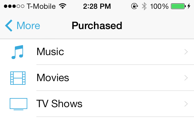 iOS 7 iTunes Store Purchased Tab