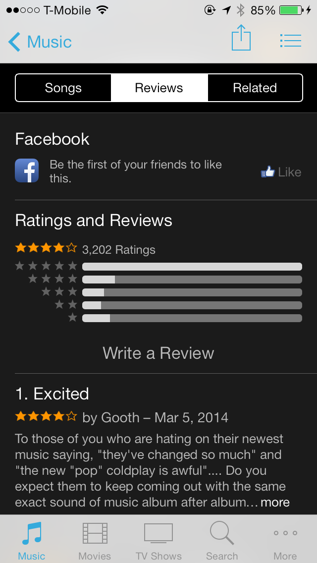 iOS 7 iTunes Store Reviews Tab