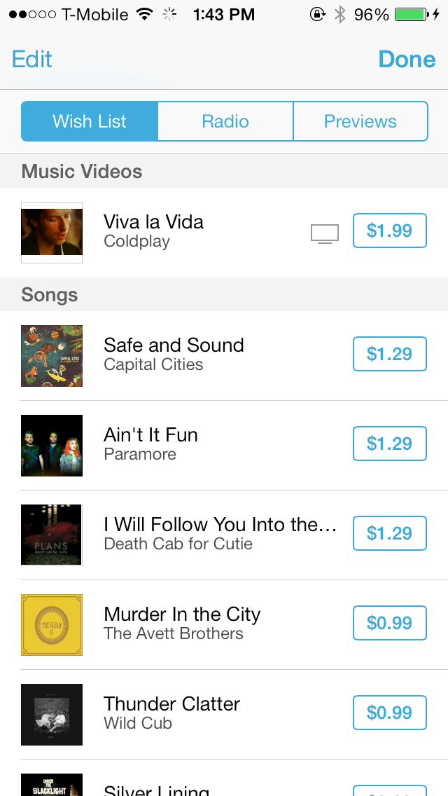iOS 7 iTunes Store Wish List