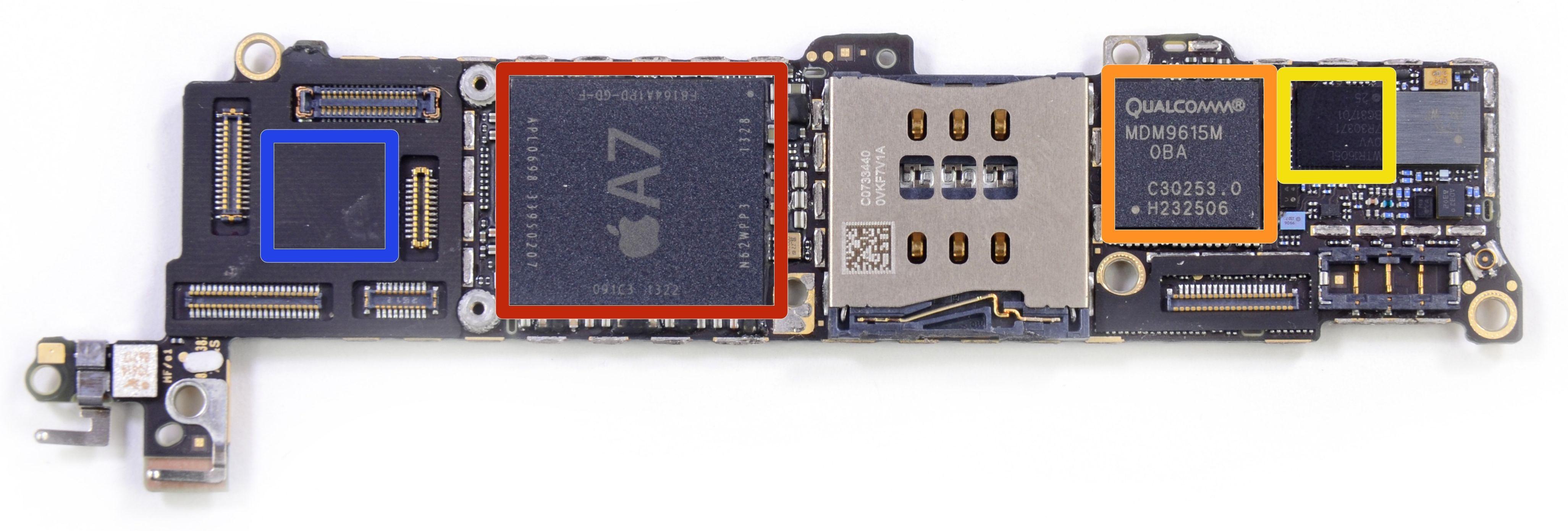 iPhone 5S teardown (iFixIt, Qualcomm baseband modem)