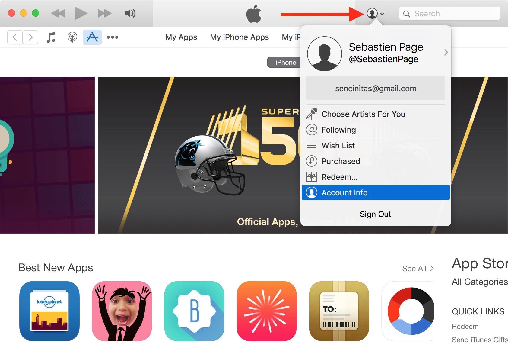 Información de la cuenta de iTunes