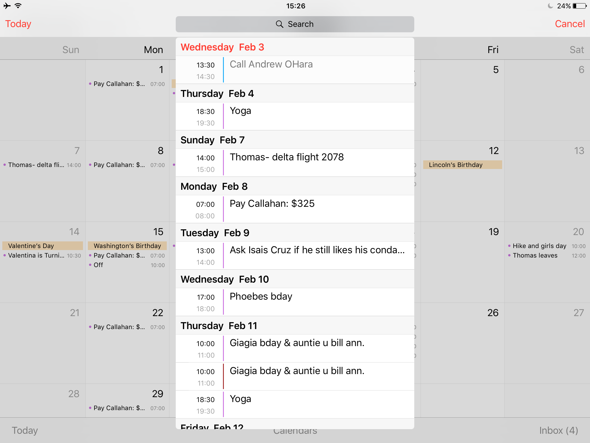 ipad calendar list view