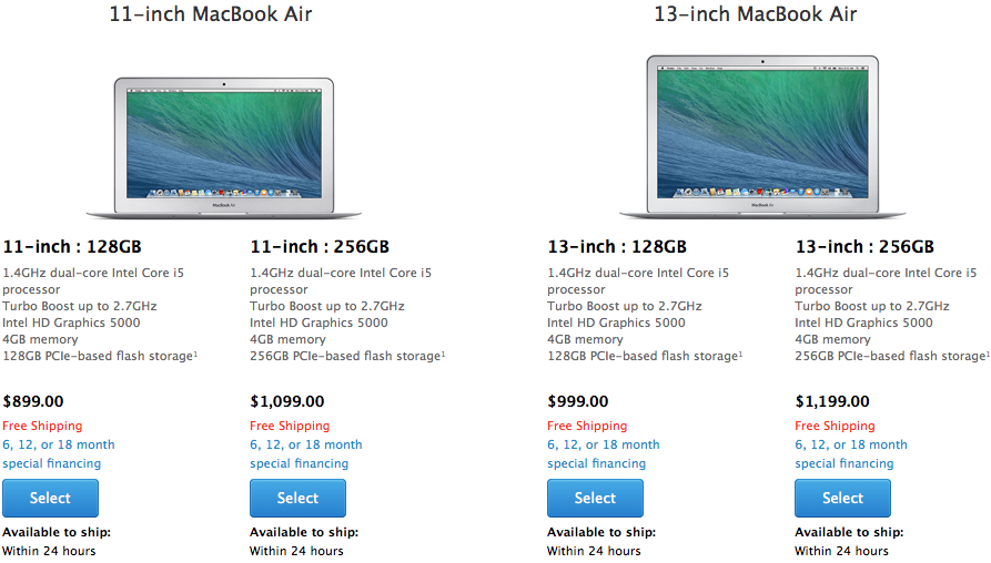 new macbook air prices