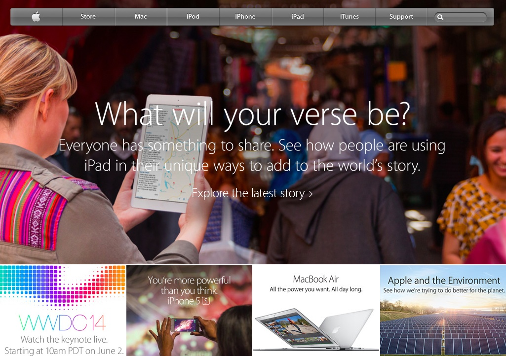 Apple WWDC 2014 banner on homepage