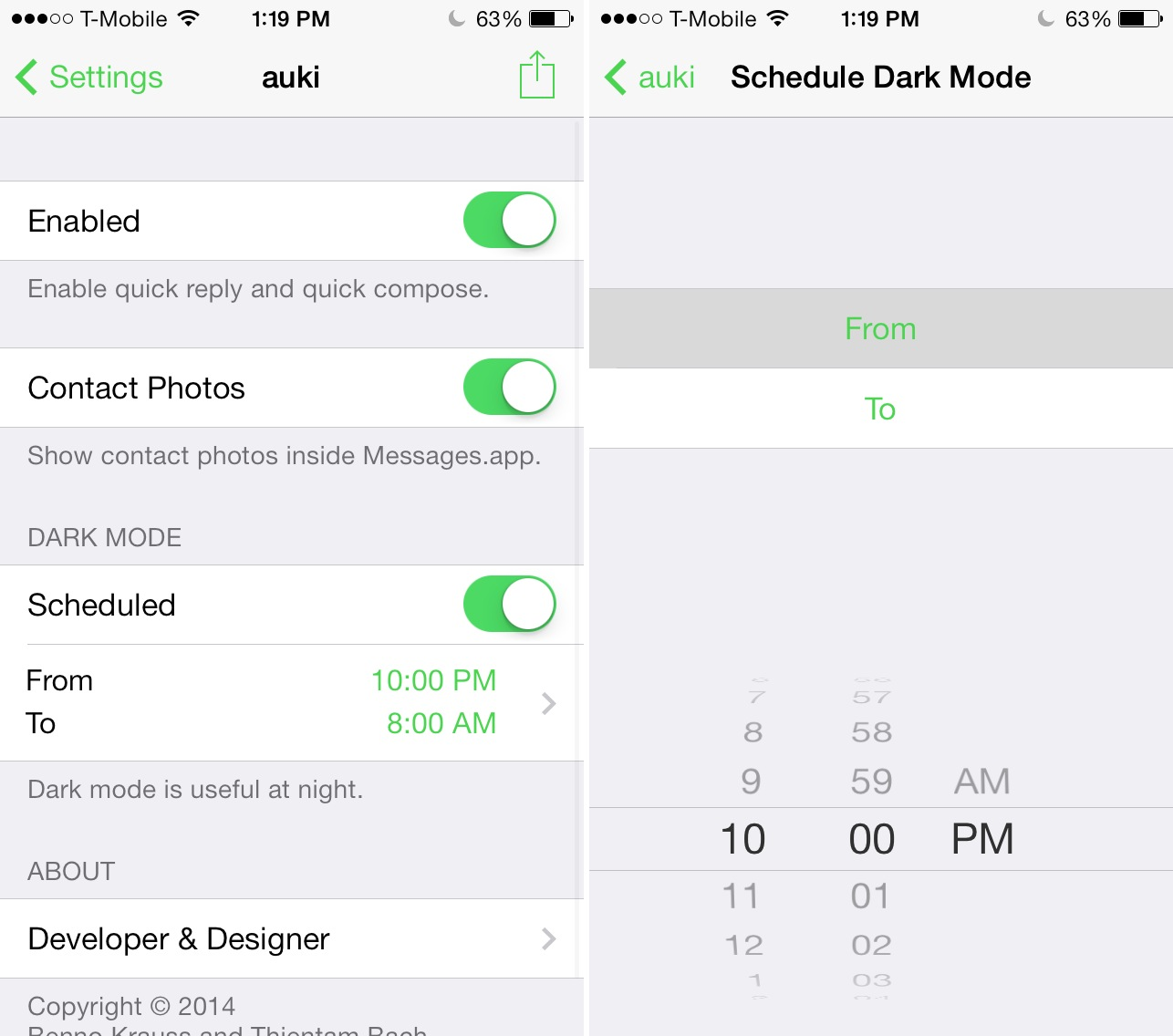 Auki Schedule Dark Mode