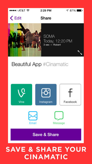 Cinamatic 1.0 for iOS (iPhone screenshot 004)
