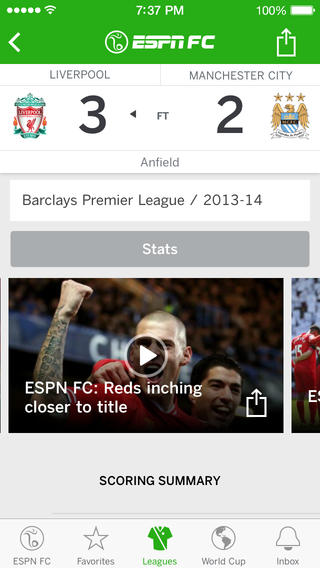 ESPN FC Soccer and World Cup 1.0 for iOS (iPhone screenshot 002)