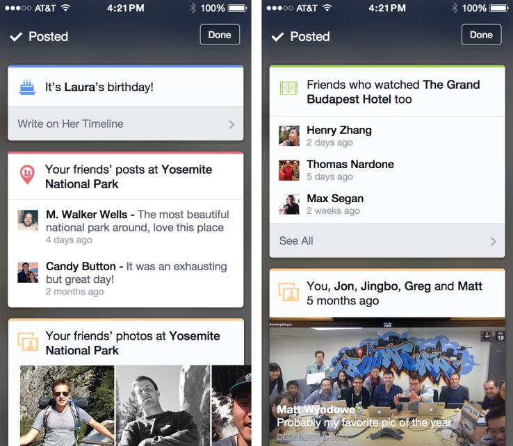Facebook Now cards (TechCrunch 001)