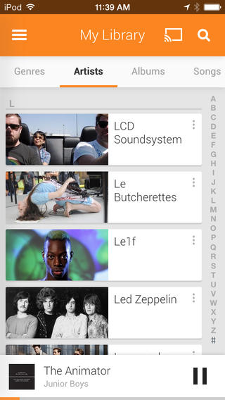 Google Play Music for iOS 1.2.1.1787 (iPhone screenshot 002)