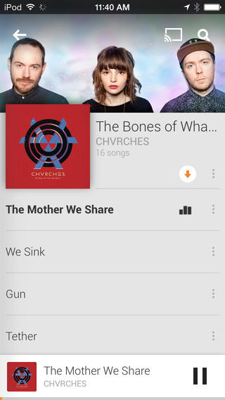 Google Play Music for iOS 1.2.1.1787 (iPhone screenshot 003)