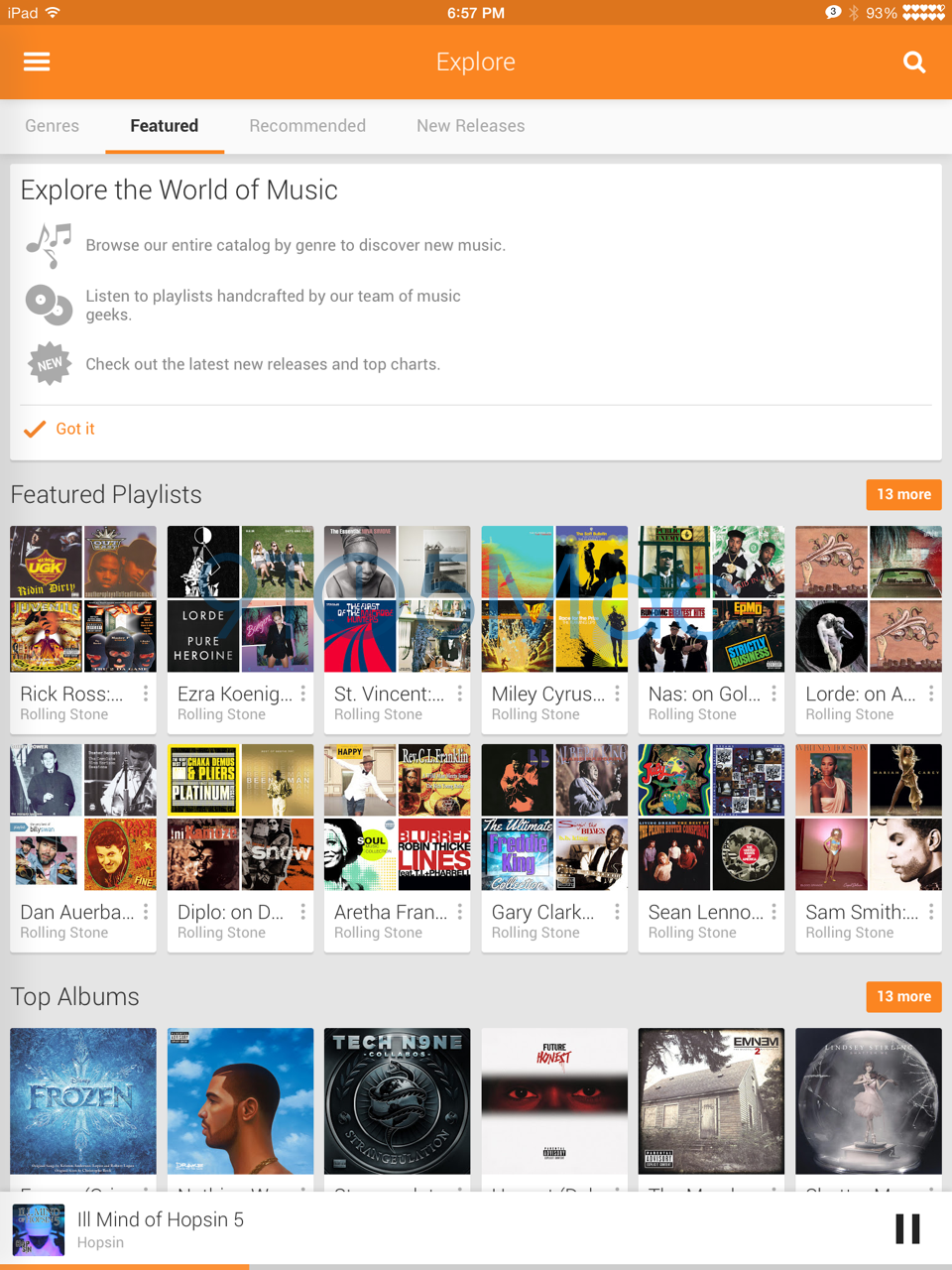 Google Play Music for iPad (image 001)