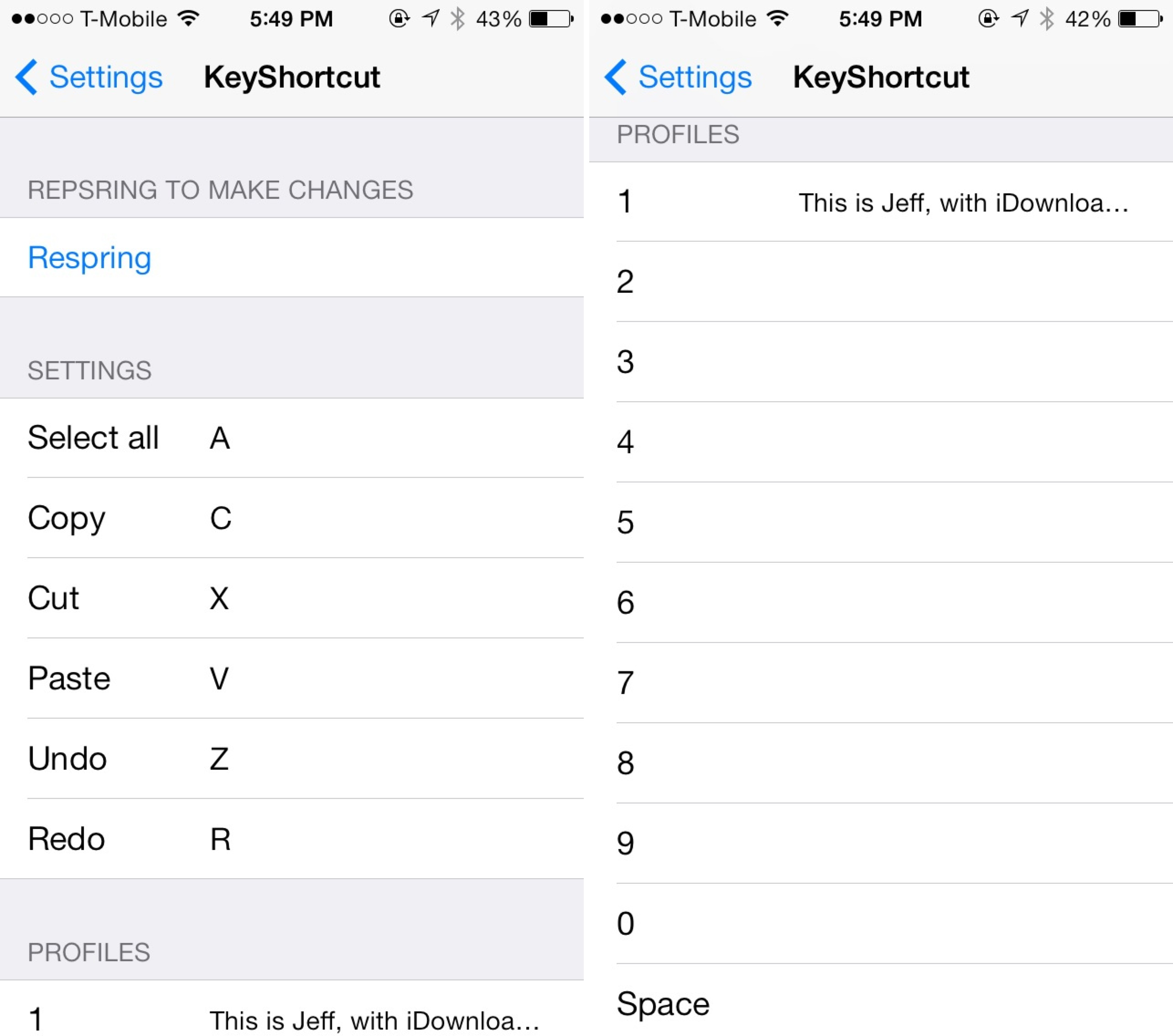 KeyShortcut pro Settings