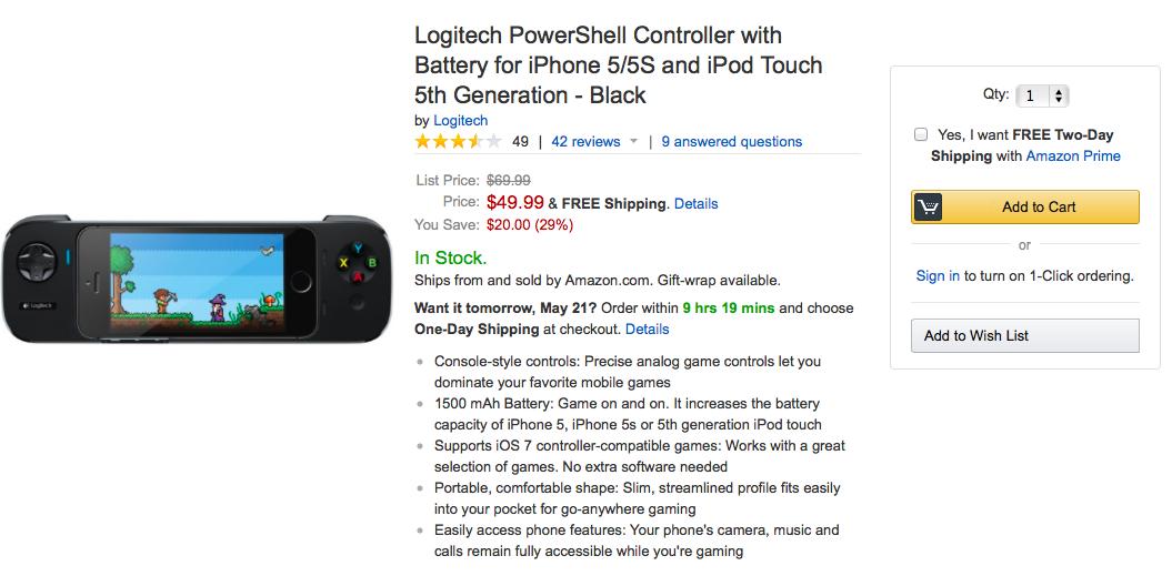 Logitech PowerShell on Amazon (listing 001)