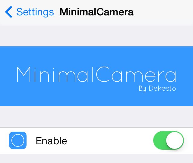 MinimalCamera Settings