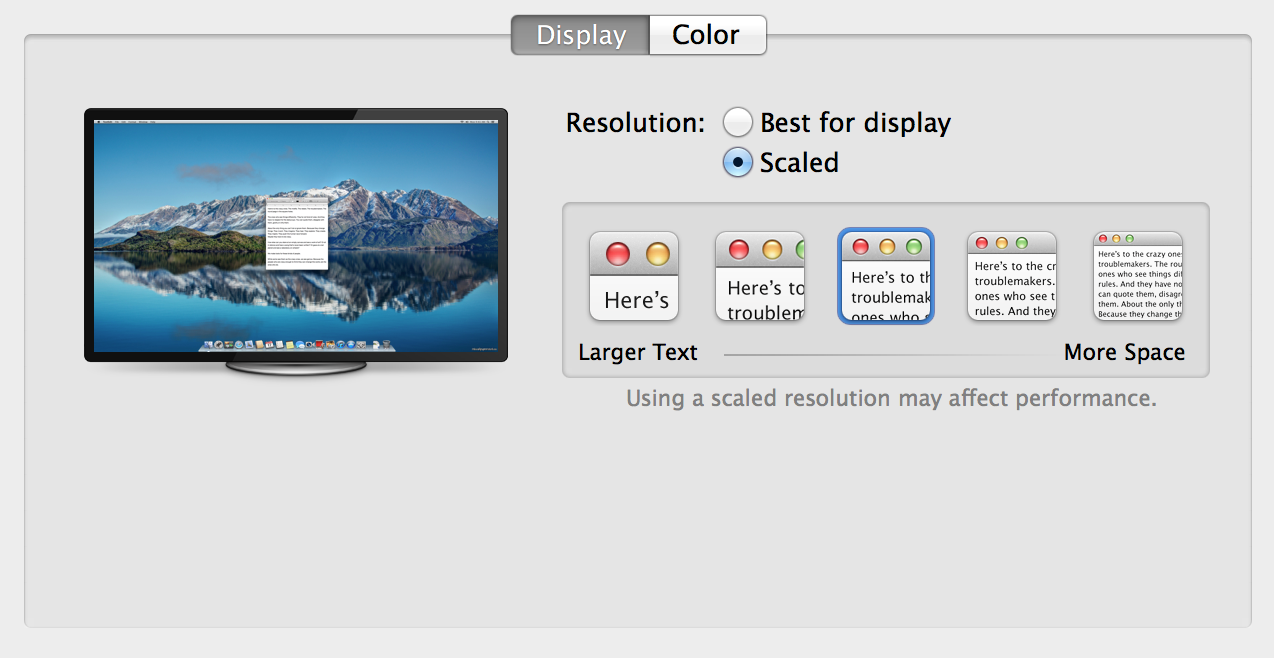 OS X Mavericks 10.9.3 (Display preferences, 4K)
