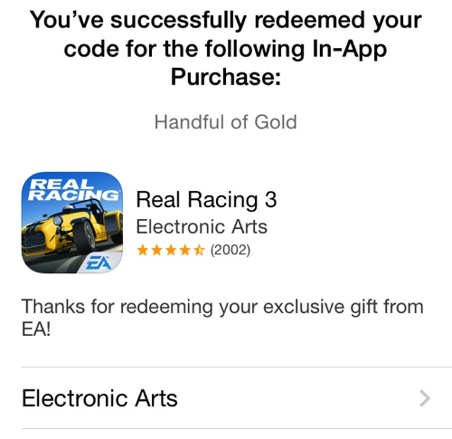 Real Racing 3 (In-App Purchase promo codes 003)