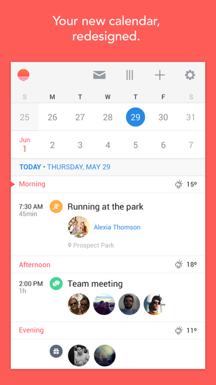 Sunrise Calendar for Android (screenshot 001)