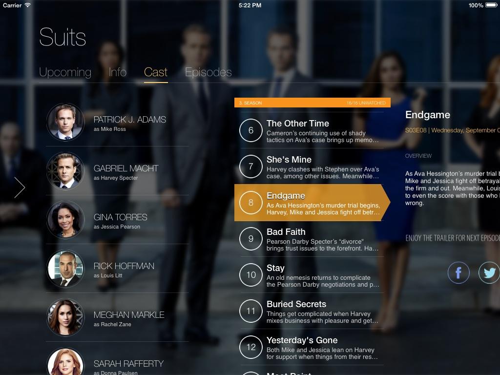 TeeVee 3.0 for iOS (iPad screenshot 001, Show Detail)