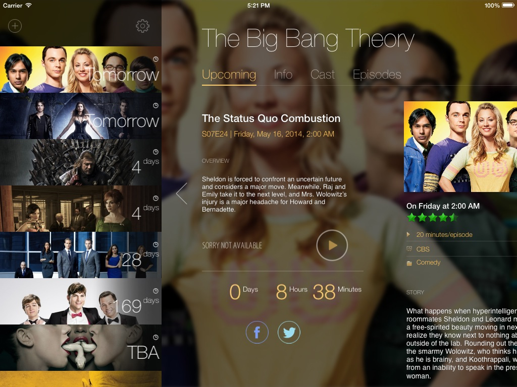 TeeVee 3.0 for iOS (iPad screenshot 002, With Sidebar)
