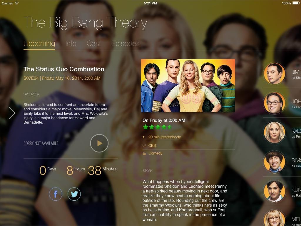 TeeVee 3.0 for iOS (iPad screenshot 003, Without Sidebar)