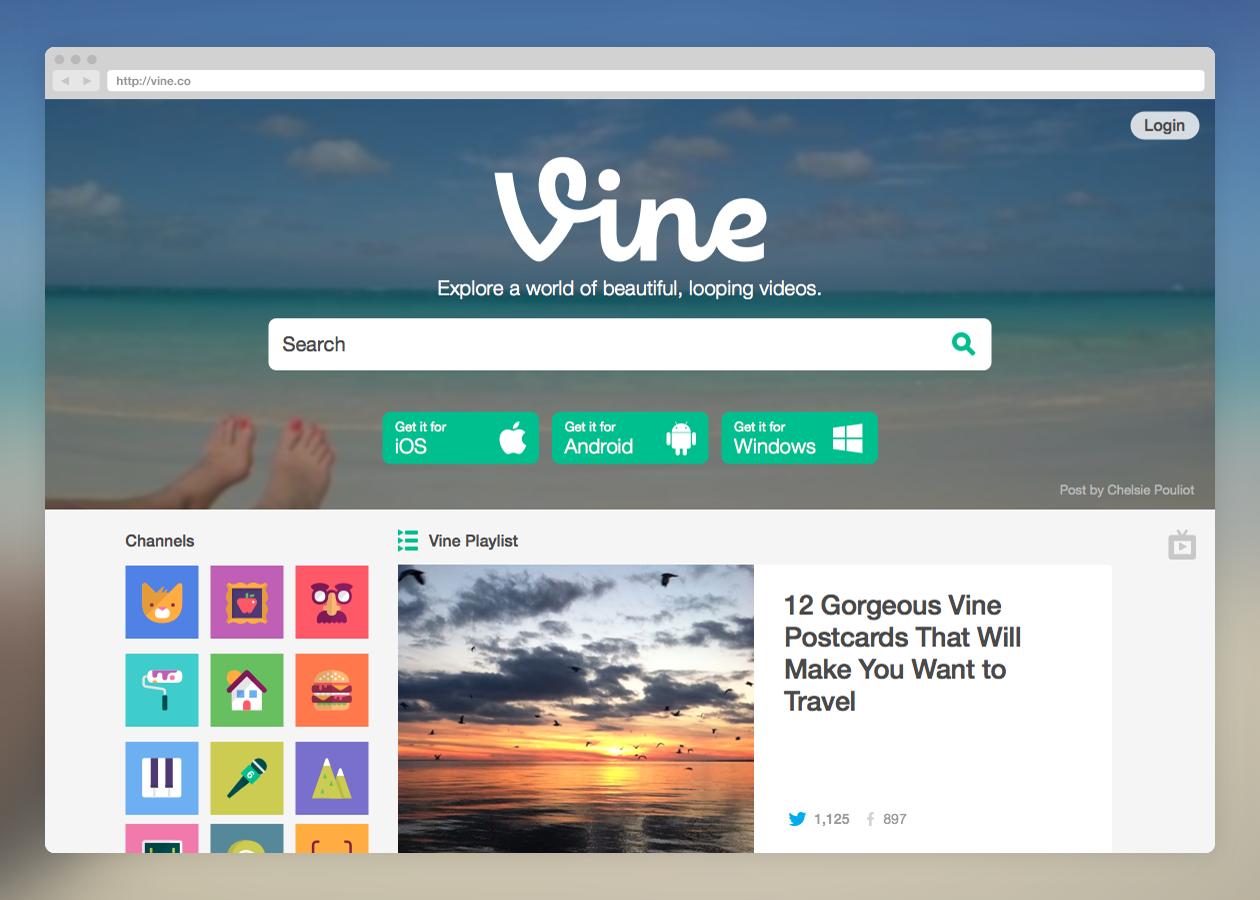 Vine web redesign (Screenshot 001)