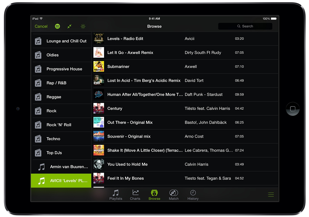 djay and Spotify (iPad screenshot 003, Library)