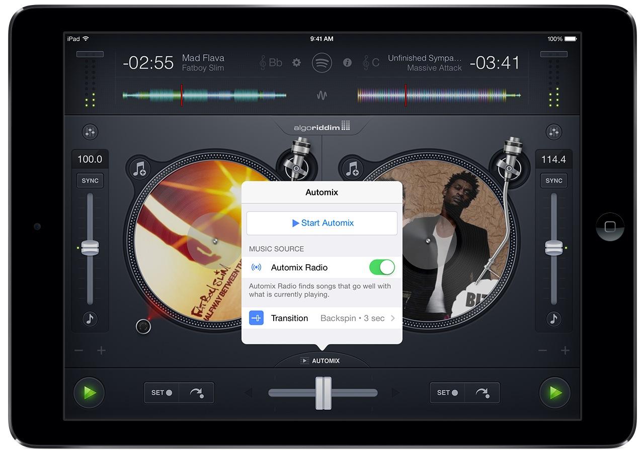 djay and Spotify (iPad screenshot 004, Auto Mix Radio)