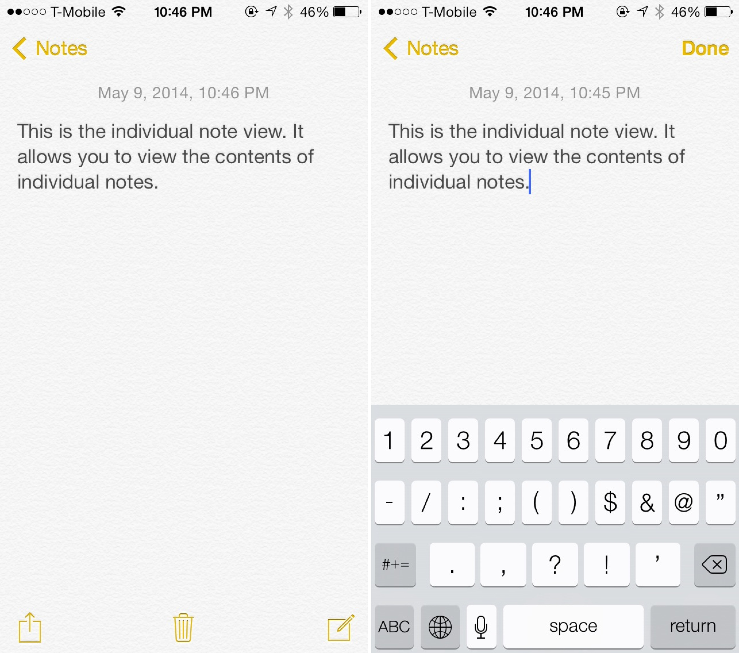 iOS 7 Notes App Individual Note View