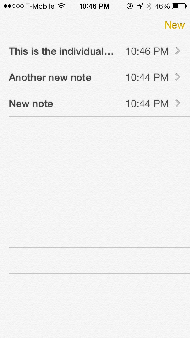 iOS 7 Notes App List View